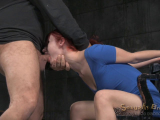 Pale redhead bent over