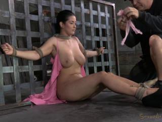 Novice Katrina Jade with inborn DDD boobies on her 1st restrain bondage shoot