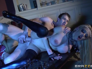 Busty Platinum-blonde Woman Is Demonstrating Her Appreciation