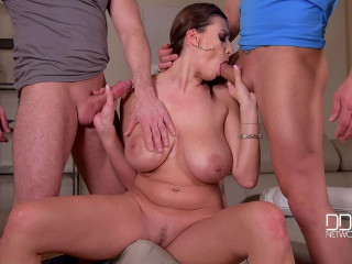 Voluptuous Jane - Appreciative Deepthroating - Bodacious Brown-haired Cougar Blows 2 Yam-sized Rods FullHD 1080p