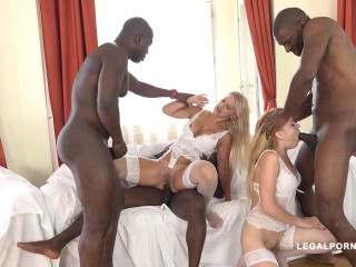 White sluts gangbanged by big cocks with anal fisting