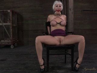Blond with all natural booming body, bound, manhandled, roughly throat fucked