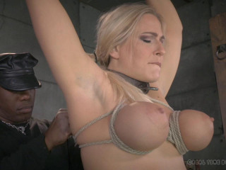 Big titted blonde Angel Allwood brutally bound and throat trained