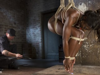 Stunning Dark-hued Slut in Brutal Restrain bondage and Tortured