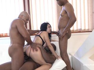 Sexy milf whore gangbanged by five black cocks & DP