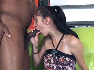 Young pregnant amateur on BBC casting