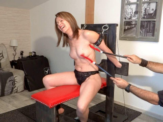French Tickling - Veronique's Topless Punishment On The Device