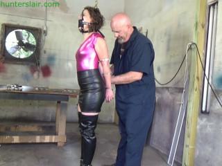 Helpless bound struggles in handcuffs then rope