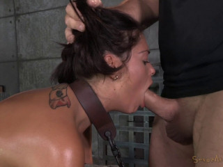 Buxom Brown-haired Ava Dalush Chained And Chained