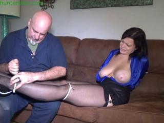 Slutty secretary has her big tits ziptied for bound orgasms