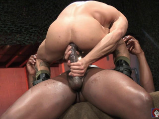 The dark-hued stud with a hefty dildo!