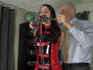 Super bondage and domination for sexy hot brunette in latex