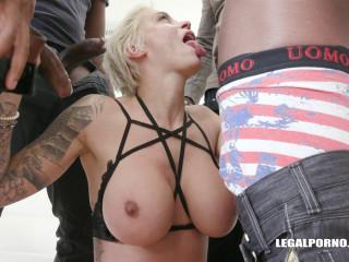 Brutal interracial gangbang for Mila Milan with 4 black guys