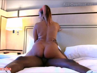 amazing figure goddess Latin Sandra jumping on big black cock 720p