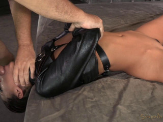 Bony Latina Lyla Storm couch bound in leather straightjacket