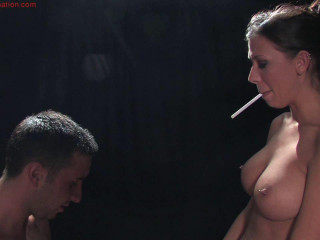 Mistress Rachel Starr Blows Her Smoke In Slaves Face
