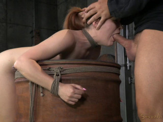 Redheaded sweetheart Claire Robbins arch over a barrel