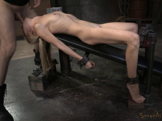 Puny gargle champion Odette Delacroix shackled to nailing machine and facefucked by hard cock!