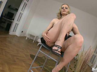 Fur covered ash-blonde toys a-hole