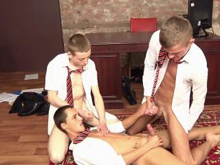 James Lewis, Skylar Blu and Leo Rain - Schoolgirl Boys Horny Office Antics