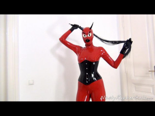 Horny Rubber Devil Masturbation, Finger, Dildo Part One