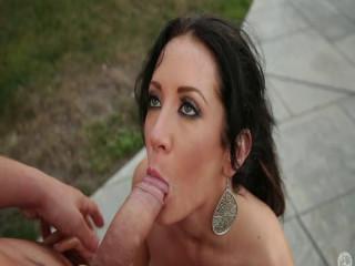 Jayden James sucks a cock on her porch