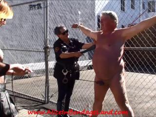 Folsom Street Honest - Chain Link Fence Public Ball Busting CBT