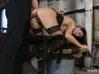 Brunette's Ass Plowed By A Ginormous Man meat