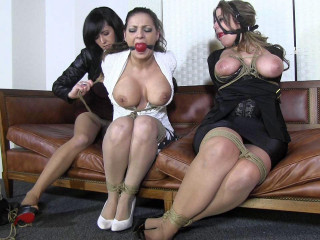 The creepy couple bring in another busty brunette