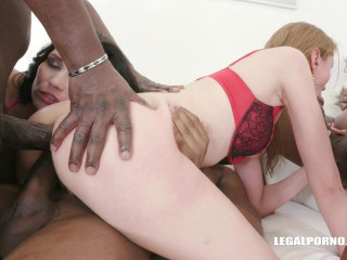 Luca Bella & Ally Style in anal orgy with fist & cocks