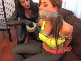 Ash & Victoria Lesbians Lesson In Bondage Obsession Sealed With Tape