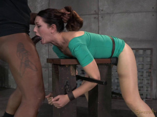 Sarah Shevon restrained and used rock-hard from both completes by rock-hard cock, spitting violent deepthroat!