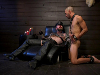 Muscular Leather  Smokes Cigars and Brutally Fucks Submissive Boy