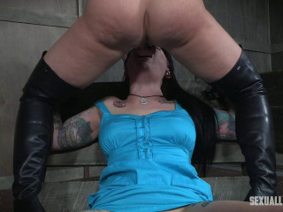 Draven Starlet is tied down, throated, fucked, manhandled with man sausage and made to jizm over and over!