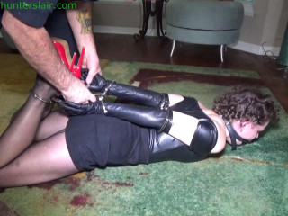 Bratty feminist left hogcuffed and helplessly struggling on the floor