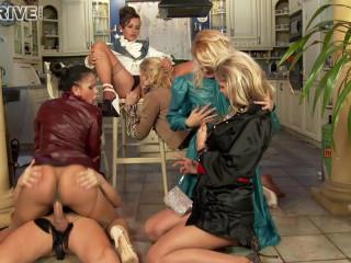 Orgy in the bar on the floor