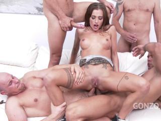 Silvia Dellai anal gangbang with DP, DAP & TP
