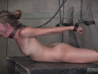 Bony platinum-blonde is tied like a hog and face fucked, deep throated and vibed to a few splattering orgasms!