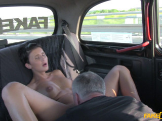 Short haired brunette fucks stranger to pay for taxi
