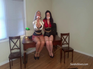 2 Milf Secretaries, Bound & Gagged! Corset, Pantyhose & Silk Blouse Struggles!