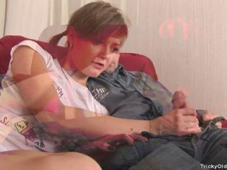 Young chick gets sex tutored by her old teacher.