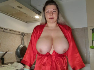 Big boob russian housewife lily playing with fruits