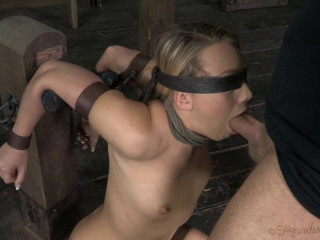 Applegate fettered and blindfolded, facefucked with cruel challenging deepthroat.