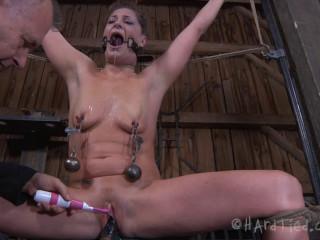 Super bondage, hogtie and torture for beautiful naked girl part 1