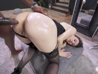 Sexy brunette destroyed in hardcore sex