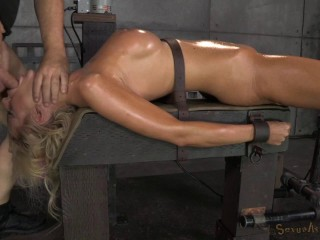 Mind-blowing ample jugged Courtney Taylor trussed onto smashing machine
