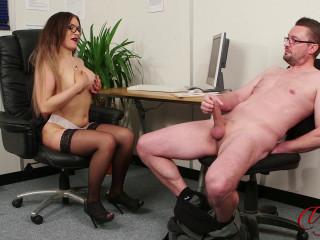 big tit redhead porscha watches man stroking cock