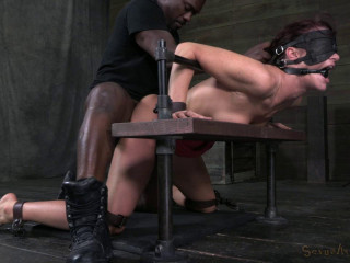 Tall sexy Milf bound is custom metal and leather bondage , HD 720p