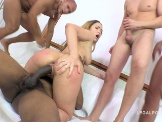 Big butt slut Briana Bounce gangbanged by 5 guys & double anal