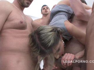Skinny babe Gina Gerson gangbanged by 5 big cocks with amazing DP